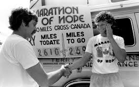 the marathon of hope terry fox terry fox greeting man credit gail harvey