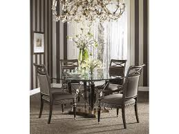astounding dining room decoration with round glass tops dining table and black leather dining chair with steel legs