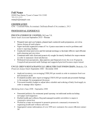 Free Certified Public Accountant Cpa Resume Template Sample Ms