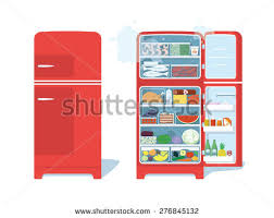 open refrigerator. vintage red closed and opened refrigerator full of food. vector illustration open a