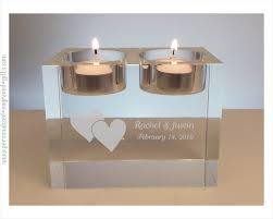 fine wedding gifts personalized crystal candle tea for two