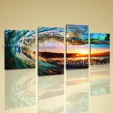 ... Pieces Gallery Large Canvas Wall Art Sale Prints Sunset Surf Glow  Framed Wrapped Quality Artist Creation ...