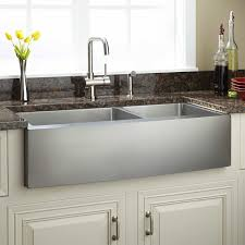 33 fournier 60 40 offset double bowl stainless steel farmhouse sink curved