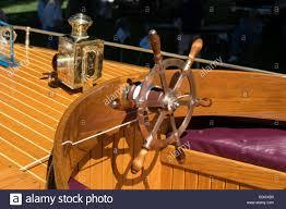 Antique Boat Navigation Lights Helm And Brass Navigation Lights On An Antique Wooden Boat