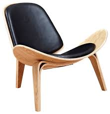 wood and leather chair. Modern Leather Lounge Chair, Shell Mid-Century, Ash Wood Frame, Black And Chair I