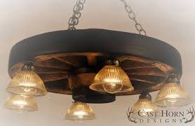 small wagon wheel chandelier with downlights wwsdl
