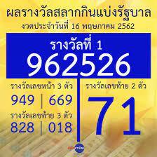 ผลรางวัลสลากกินแบ่งรัฐบาล งวดประจำวันที่ 16 พฤษภาคม 2562 - สำนักข่าวไทย อสมท
