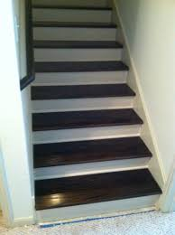 Painted Wood Stairs Red Oak Hardwood Stair Treads Stained Kona With Lewan Plywood