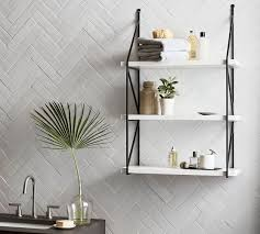 mixed material wall shelf pottery barn