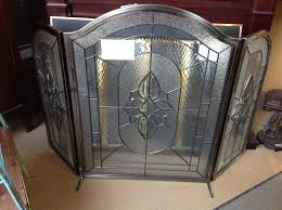 masterful stained glass fireplace screen with steel borders to living room area glass fireplace screen e48 fireplace