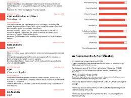 Elon Musk Resume Shining Elon Musk Resume Stylist S R Sum All On One Page Business 18
