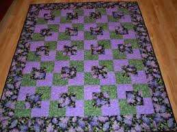 Square in a square and teal and brown quilts | Gorram Quilts & Singular Sensations square in a square square-in-a-square purple green  flowers Adamdwight.com