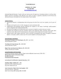 Cover Letter Resume Special Ed Teacher Teacher Assistant Resume