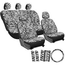 car seat covers snow white 17pc for auto zebra tiger animal print steering wheel