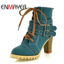 <b>ENMAYER</b> Fashion Women Boots Style Lace Up High <b>Heels</b> Boots ...