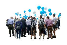 european group holding balloons Architecture People