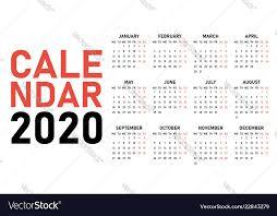 2020 Calendar Design Template