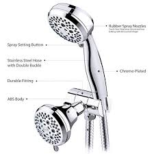 shower head clofy 28 setting combo shower heads with holder hose full chrome handheld rain shower head shower faucet complete overview for april 2019