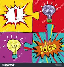 Pop Art Design Ideas Idea Puzzles Pop Art Style Creative Stock Vector Royalty