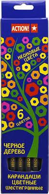 <b>Action</b>! <b>Набор цветных карандашей</b> Неон 6 цветов — купить в ...