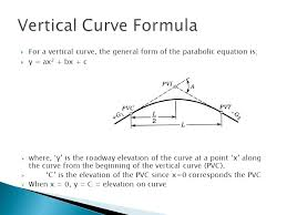 for a vertical curve the general form of the parabolic equation is y ax2 bx c where y is the roadway elevation of the curve at a point x