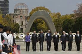 obama has unfinished business in hiroshima the times needed gesture g 7 foreign ministers stand together after placing wreaths at the cenotaph