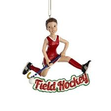 Club Pack of 12 Girl With Red Glittered Field Hockey Christmas Ornaments  3.5
