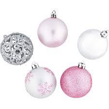Weihnachtskugel Set 25 Teilig In Silber Und Pink
