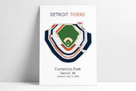 Detroit Tigers Mlb Stadium Map Comerica Park Ballpark Map Baseball Stadium Map Gift For Him Stadium Seating Chart Man Cave