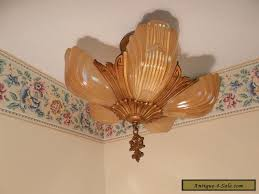 antique frosted glass slip shade art deco light fixture chandelier markel for