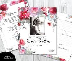 Funeral Guest Book Template Pink Grey Roses Guest Book Template Diy Guest Book