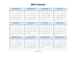 Microsoft Excel Calendar 2020 2020 Calendar Blank Printable Calendar Template In Pdf