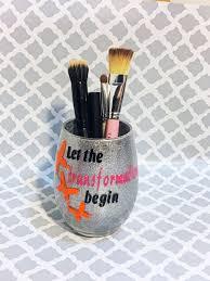 clearance let the transformation begin motivational e and orange erflies glitter makeup brush holder jar or desk organizer makeup brush holders