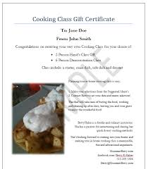 Food Voucher Template Adorable Cooking School Certificate Template Blank Certificates Chef Cooking