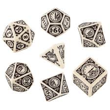 Steampunk Clockwork Dice Set: Beige & Brown