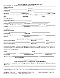 employer emergency contact form template high school emergency contact form fill out and sign