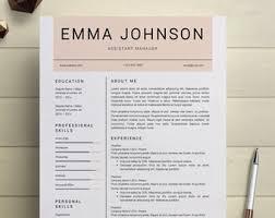 Modern Resume Etsy Cv Template Etsy Resume Examples