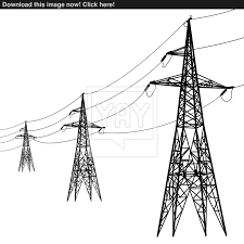 Silhouette of high voltage power lines vector yayimages