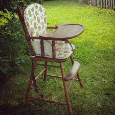 vintage wooden baby high chair with original plastic cover antique baby s first birthday photo prop 1950s 1960s 1970s retro wood