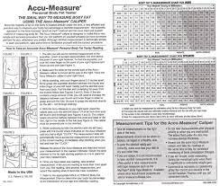 Accu Measure Body Fat Chart Genuine Accu Measure Fitness 3000 Body Fat Calliper Monitor