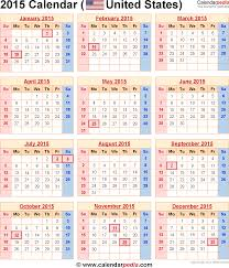 Word Template Calendar 2015 2015 Calendars 2015 Calendar With Federal Holidays Excel