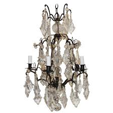 charming french patinated bronze crystal five light chandelier bird cage fixture for