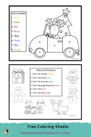 See all of our preschool color activities! Free Christmas Worksheets For Kids Dream Team Therapy