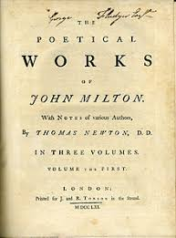 john milton  title page of a 1752 1761 edition of the poetical works of john milton notes of various authors by thomas newton printed by j r tonson in the