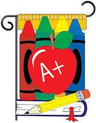 school day applique garden flag