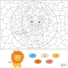 Cartoon Lion Color By Number Coloring