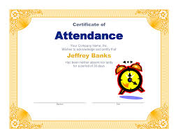 best photos of microsoft certificate of attendance attendance attendance award certificate template