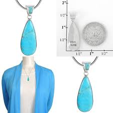 details about turquoise pendant necklace in sterling silver 925 genuine selec long teardrop