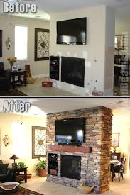 before and after a tuscany mantel and a stone style veneer give this room a