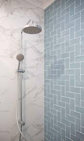 Light Blue Herringbone Tile Hamptons Shower Area With Duck Egg Blue Herringbone And